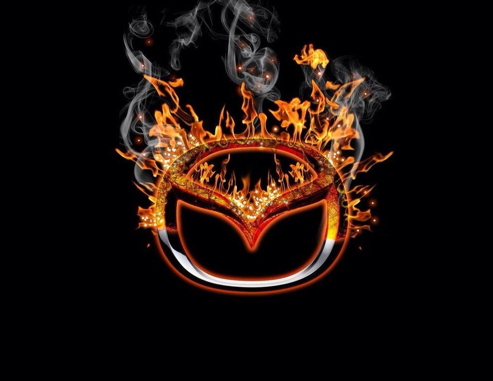 Mazda emblem with flame