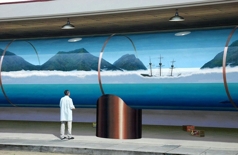 Artist: John Pugh These amazing pictures show the epic architectural murals that are deluding viewers into seeing a 3D scene painted on a flat surface.