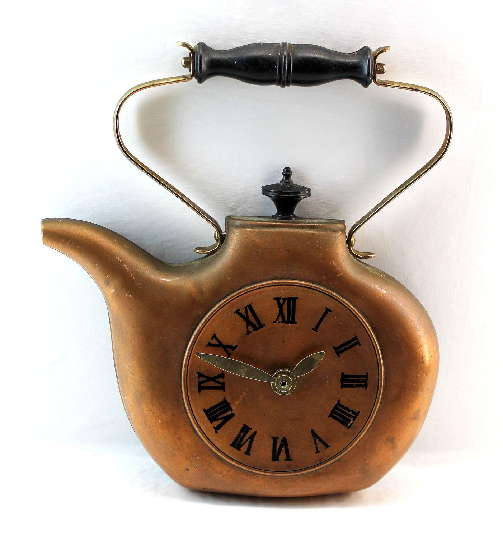 Copper Teapot Wall Clock Kitchen