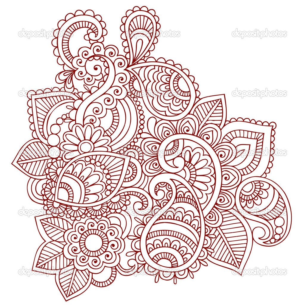 Henna Design Line Art : Henna paisley flower doodle vector design element