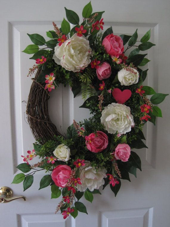 Valentine Wreath, Front Door Wreath, Wedding Wreath, Anniversary Gift Wreath,  Holiday Wreath