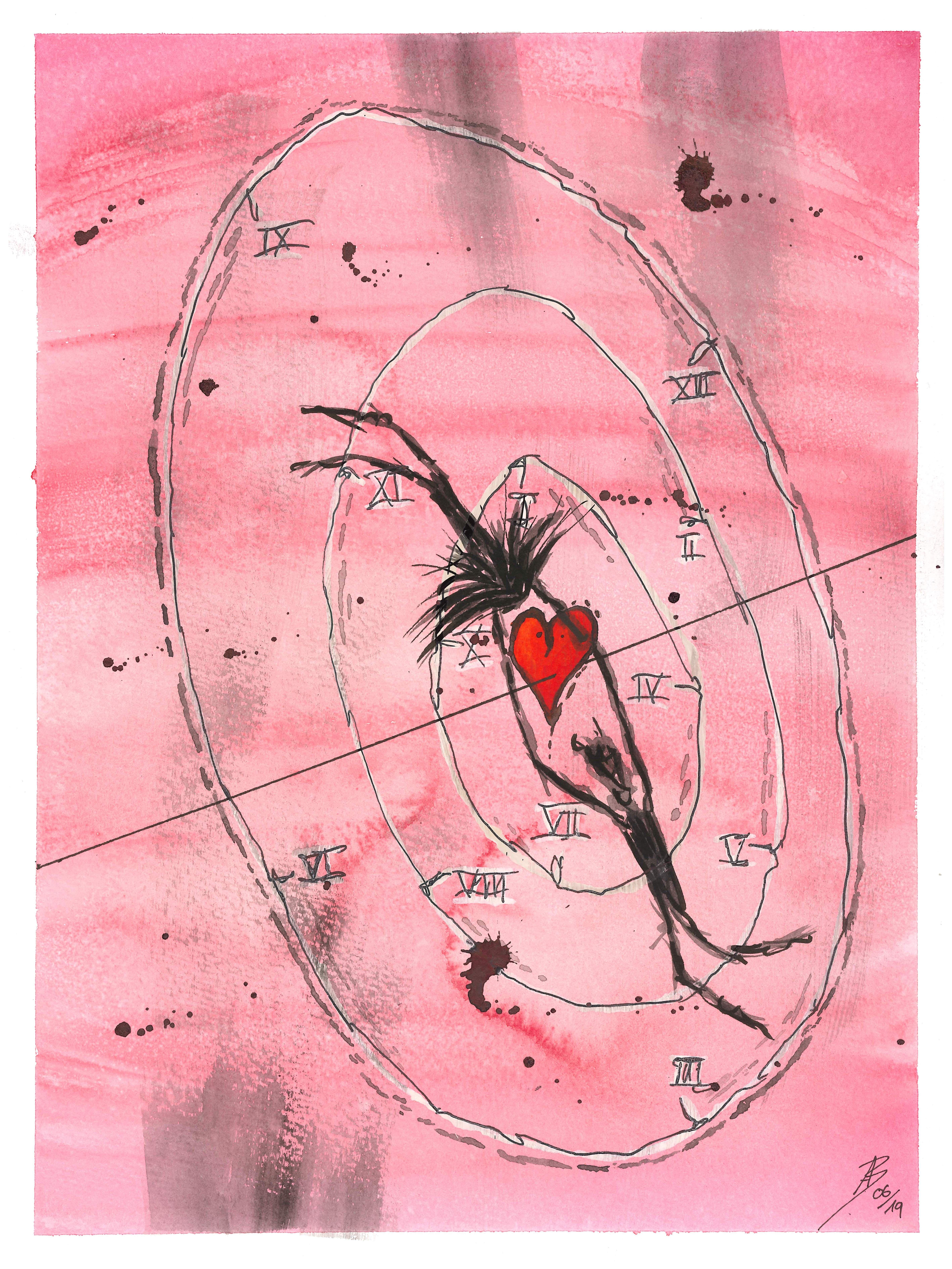 The Circle of Life  24x32 cm  Aquarelle Die Liebe lässt uns durchhalten Sie übersteht jede Zeit 062019  24x32 cm  Aquarell  Tinte auf 300g Aquarellpapier