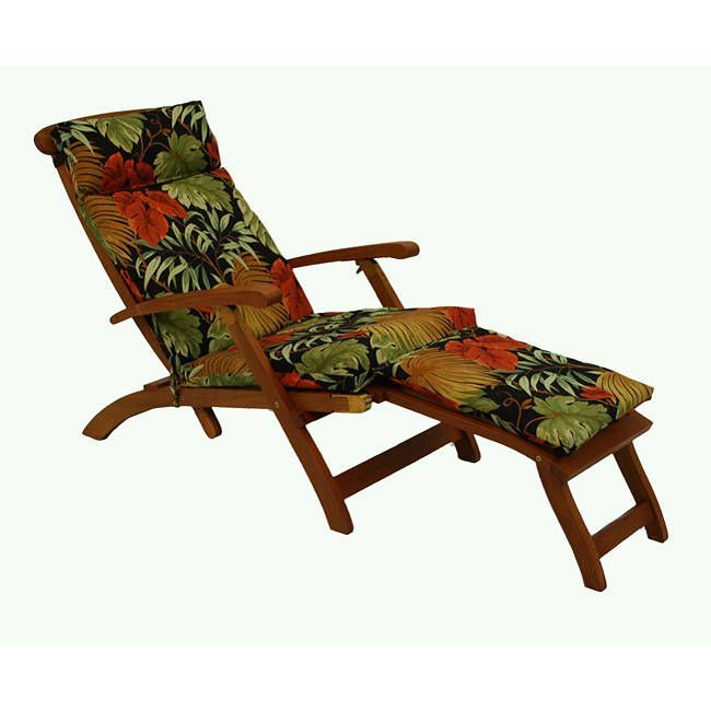blazing needles polyester all weather outdoor steamer deck lounger