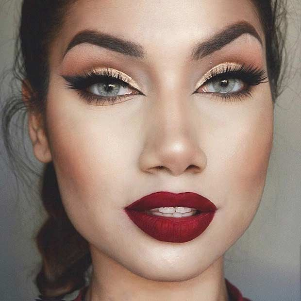 Classically Festive Look Gold Eyes Red Lips Stayglam Beauty