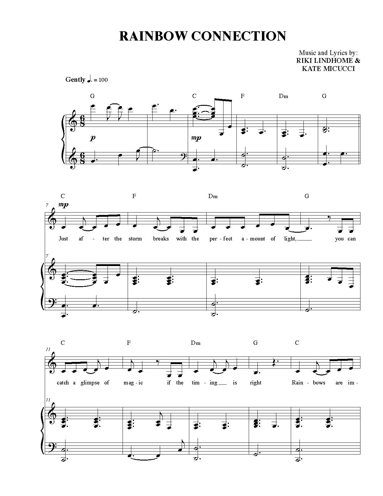 Sheet Music For Rainbow Connection Garfunkel And Oats With