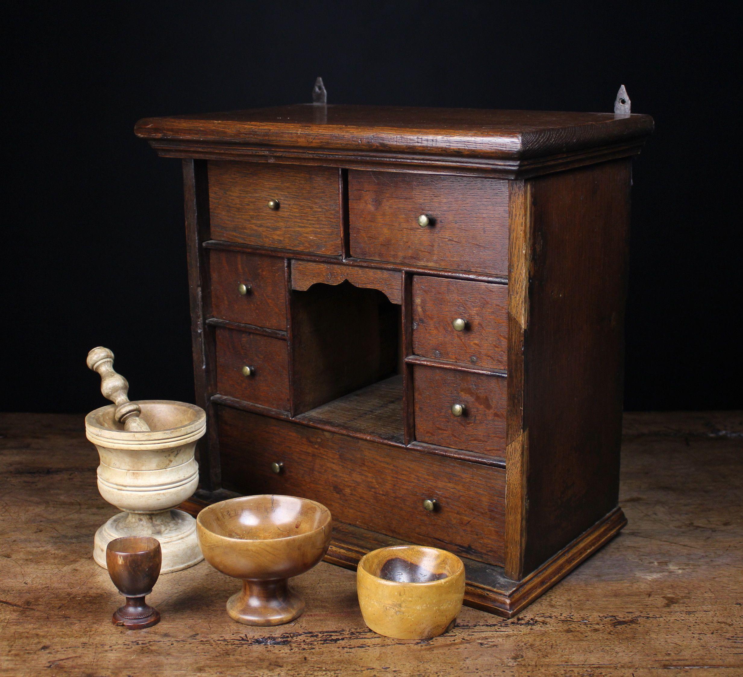 A Late 18th Century Oak Spice Cupboard Oak Lignum Pestle Mortar