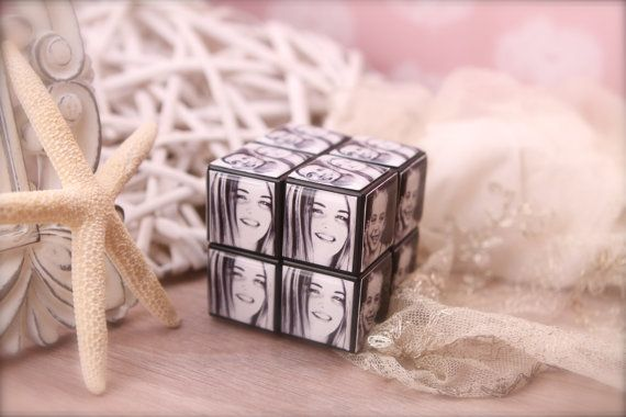 Personalized Puzzle Cube: Photo puzzle cube. Functional with 6 sides. Little Memory Gifts present