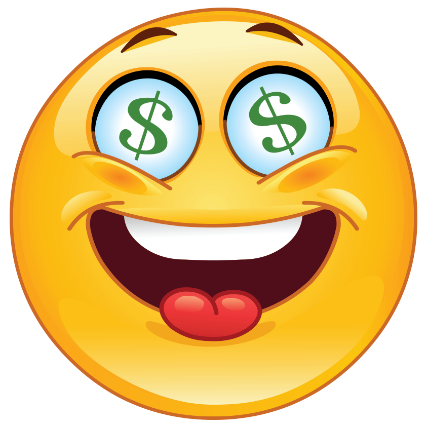 Is someone feeling greedy? This is a really fun smiley to use in your Facebook chat messages.