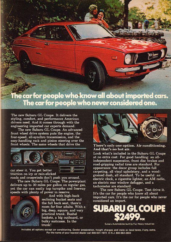 1972 Subaru Gl Coupe Advertisement Playboy September 1972 Vintage