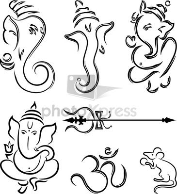 Ganesha Modern Outline Motifs Ganesha Drawing Mandala Design Art Ganesha Art