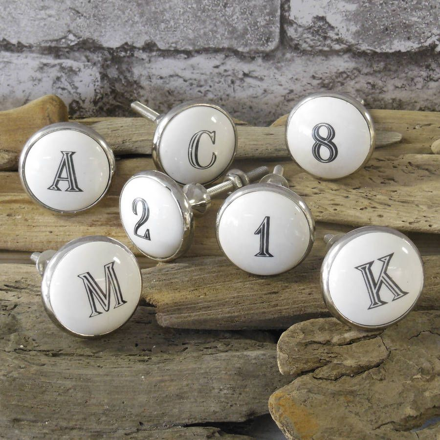 Ceramic Alphabet Letters And Numbers Knob  Alphabet Letters