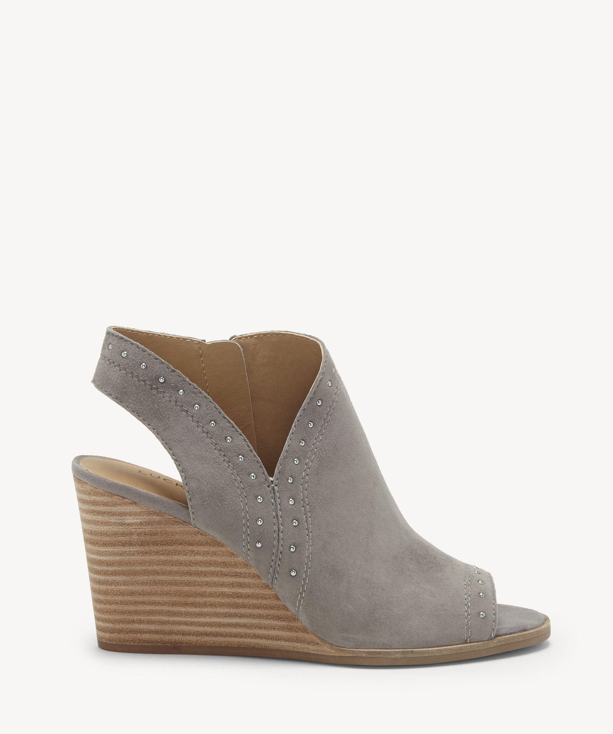 2ea8258f44c Lucky Brand Women s Ulyssas Peep Toe Wedges Titanium