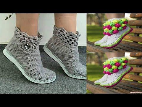 Botas Super Super Facil Irina Ascencio Youtube Crochet Boots Crochet Shoes Crochet Slipper Boots