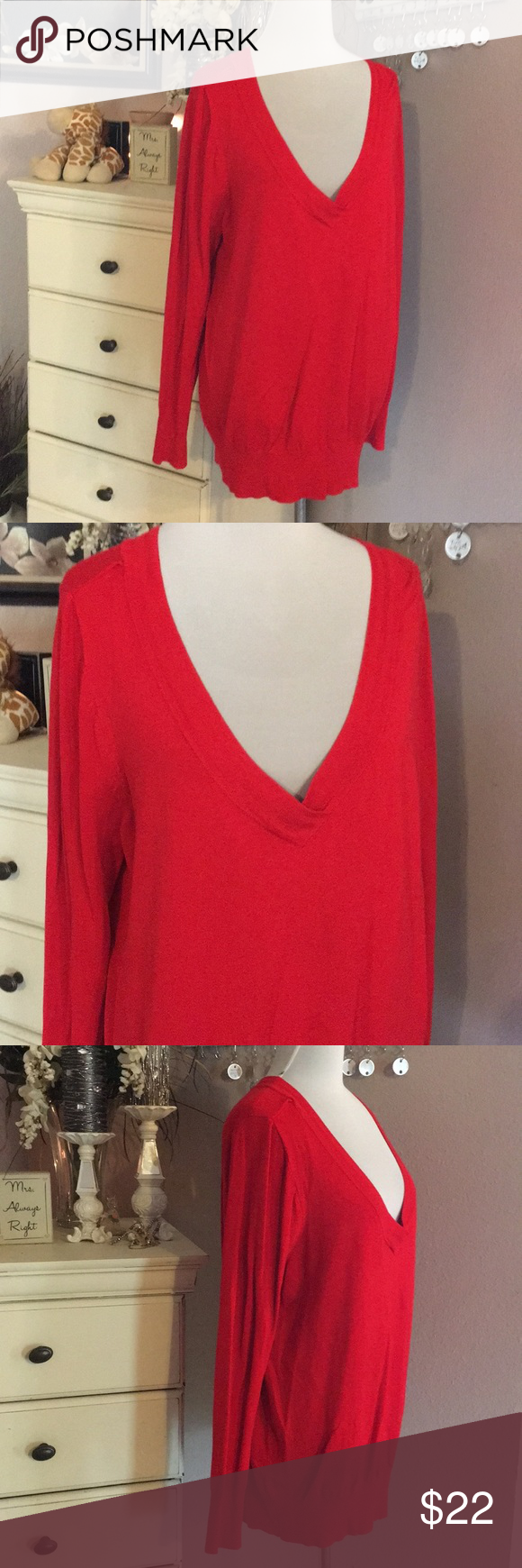 d83c2e20861c4c Lane Bryant sweater Lane Bryant red sweater. Like new condition size 18 20.  Rayon and nylon fabric. Soft. Lane Bryant Sweaters V-Necks