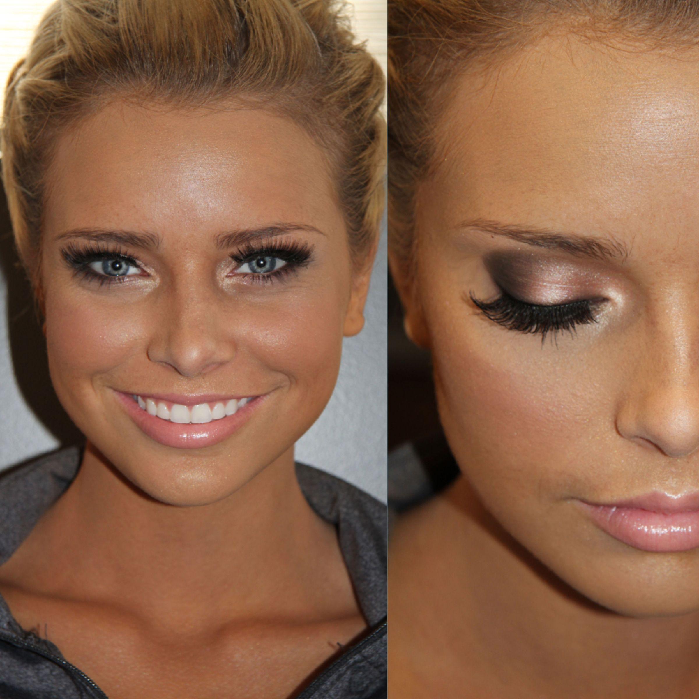 Wedding makeup Bronzed Airbrush bride and smokey gray eye makeup