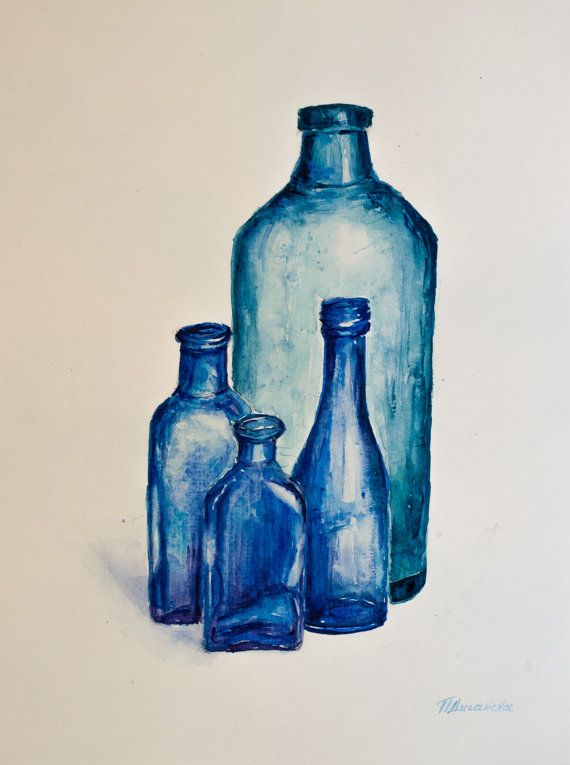 Original Watercolor Painting Watercolor Glass Bottles By Pdisanska