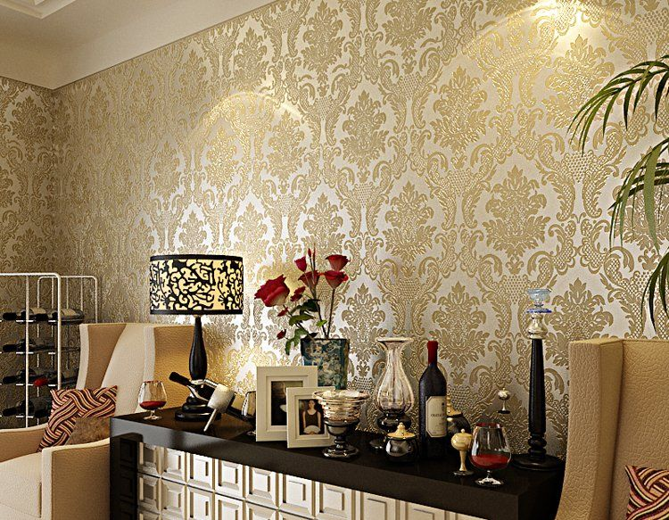 Luxury Europe Damascus 3D Stereo Embossed Wallpaper Home Decor ...