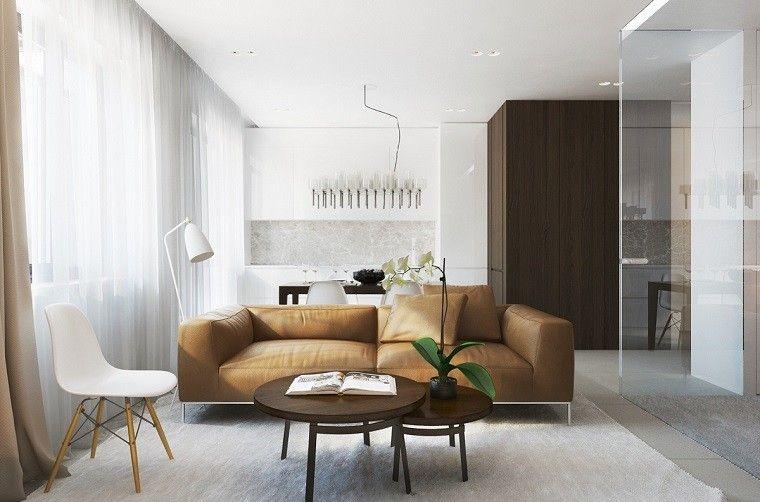 cortinas blancas de tela ligera en el saln moderno