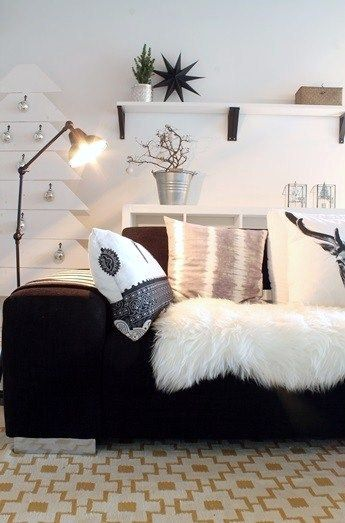Amazing This Black Couch With A White Fur Throw Blanket Black Gmtry Best Dining Table And Chair Ideas Images Gmtryco