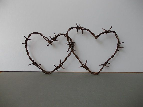Barbed Wire Hearts / Reclaimed barbed wire / Rustic by EUvintage, $10.00