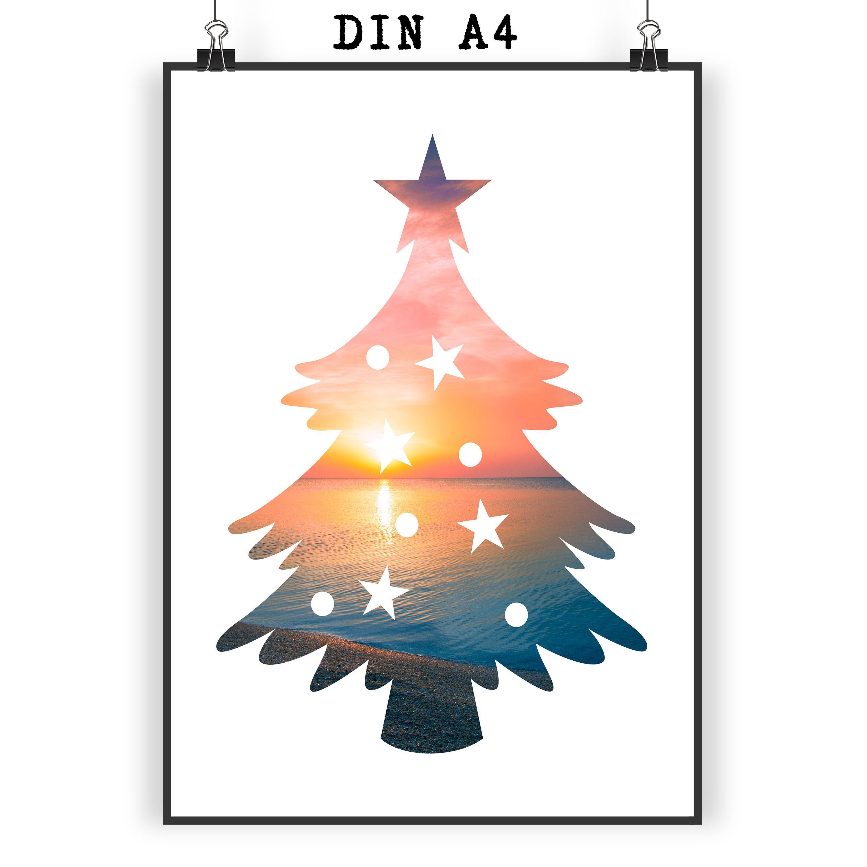 Poster DIN A4 Weihnachtsbaum aus Papier 160 Gramm weiß Das