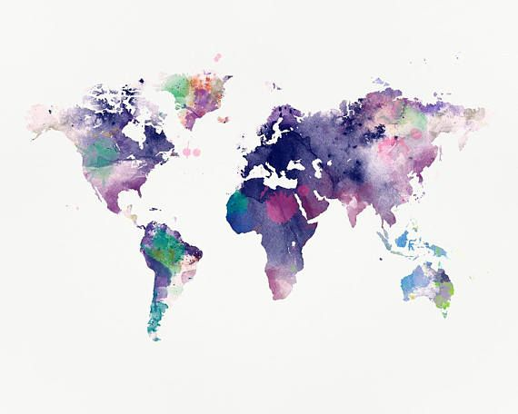 World Map Watercolor Print Poster Home Decor Map Art Etsy In