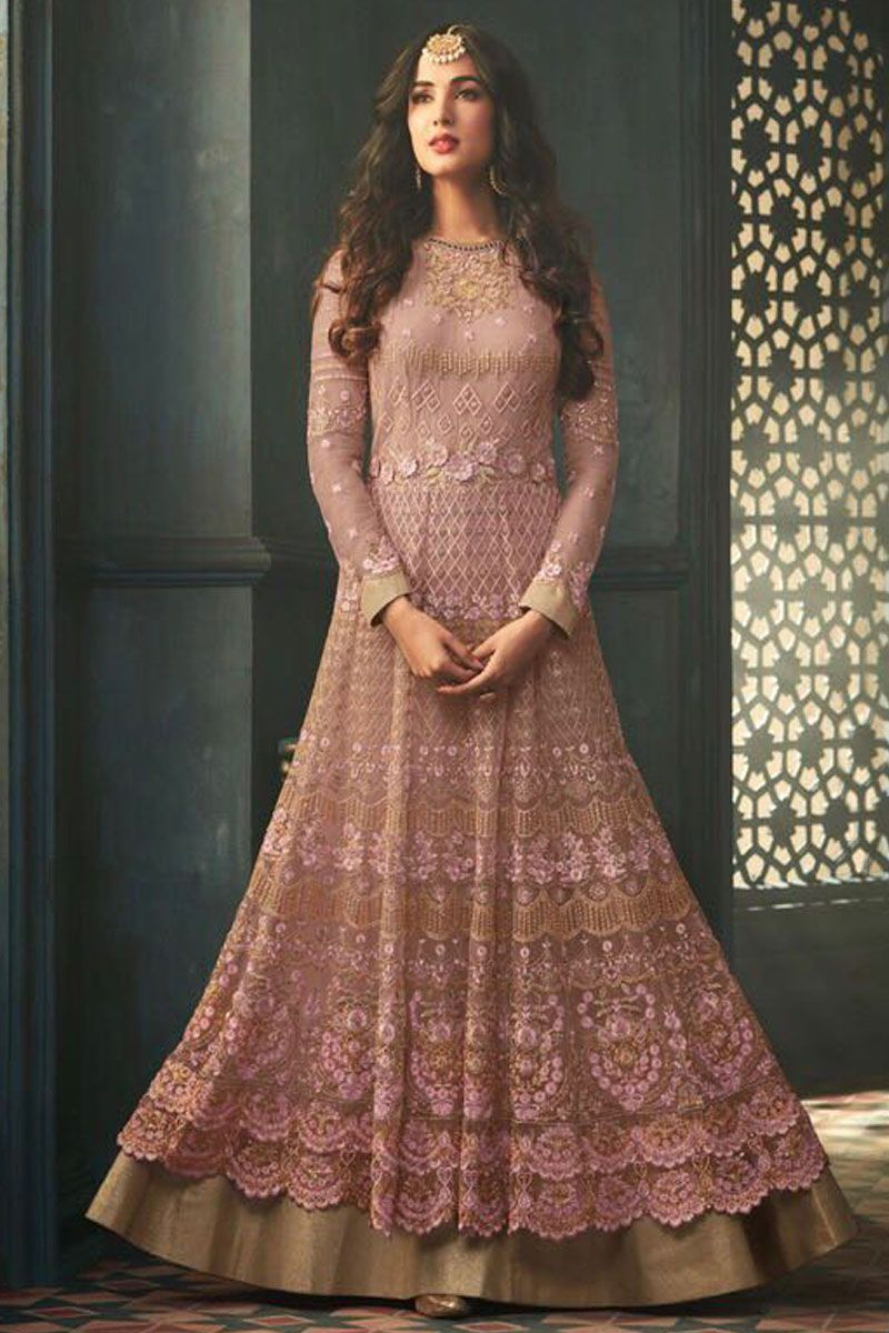 Blush pink beautiful traditionalparty wear celebrity style net