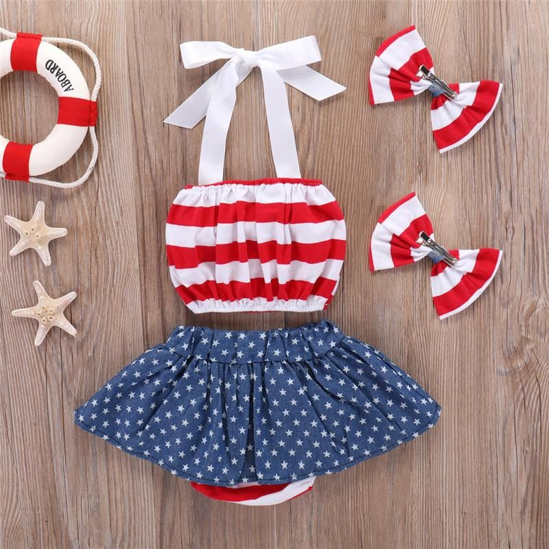 9fa369b9bb 4th of July Newborn Baby Girls Skirt Sets Stripe Halter Tops + Star Skirts  Toddler Outfits Fourth of July Children Clothes 4pcs