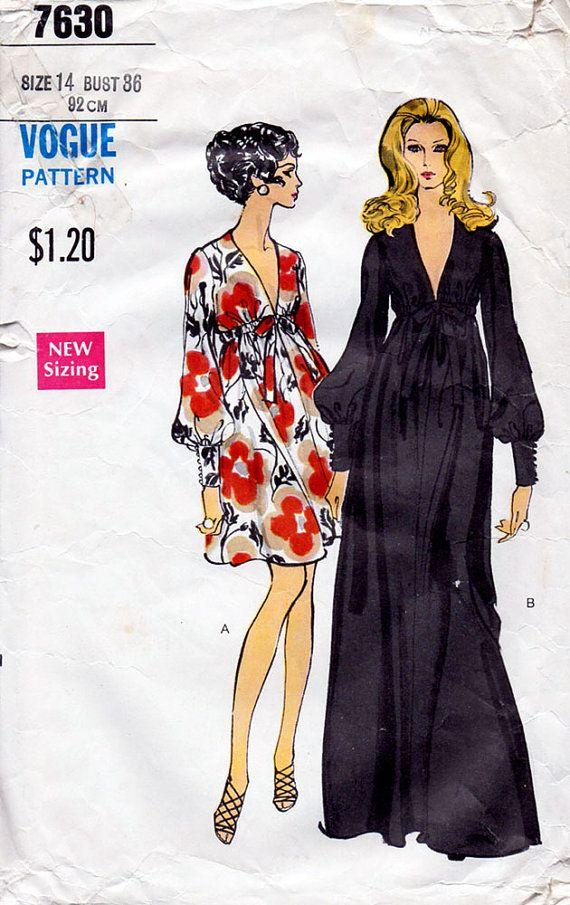 1969 Plunging V Neckline Empire Dress Pattern by BessieAndMaive