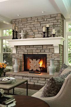 Via Houzz Stone Fireplace With Painted Mantle Modernized