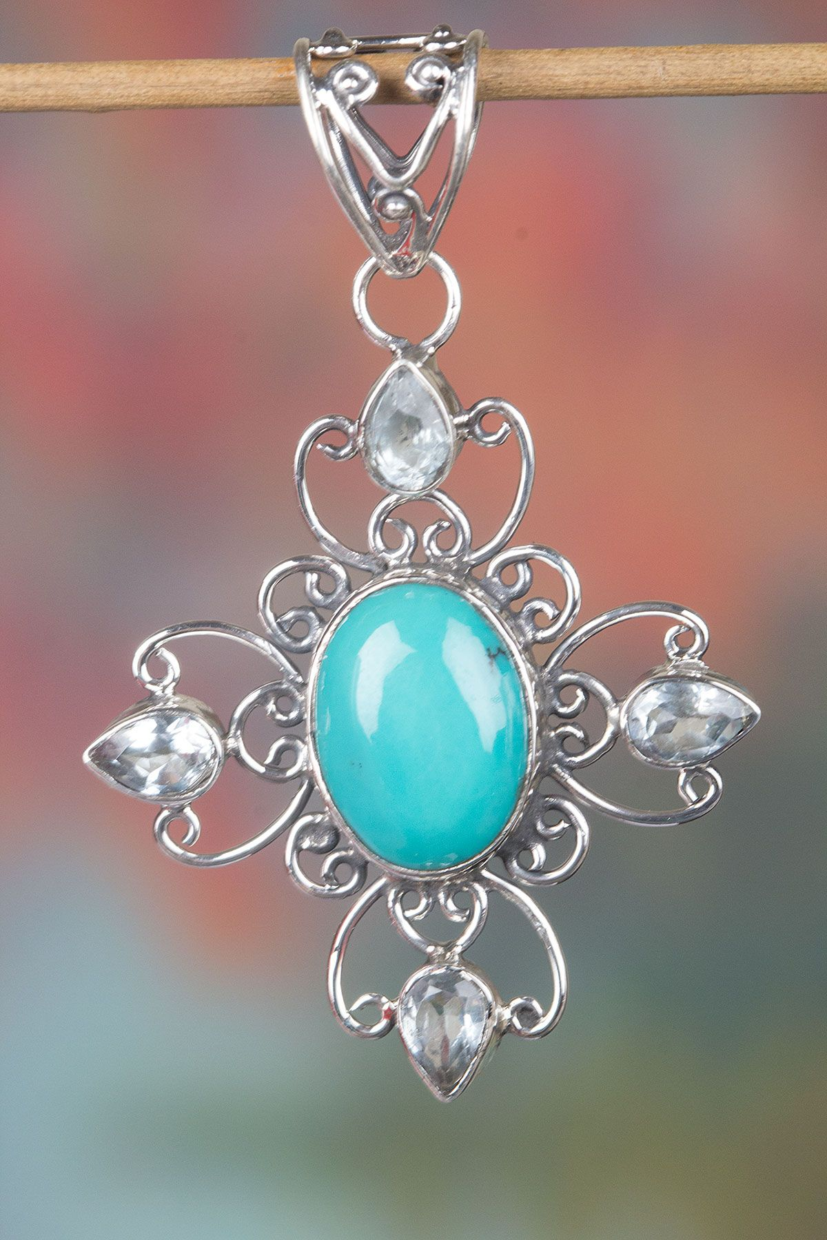 Turquoise Pendant, Sterling Silver Pendant, Cabochon