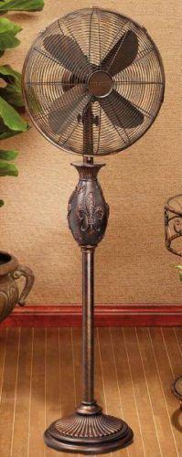 Tuscan Old World / French Fleur De Lis Floor Oscillating Fan 3 Speeds