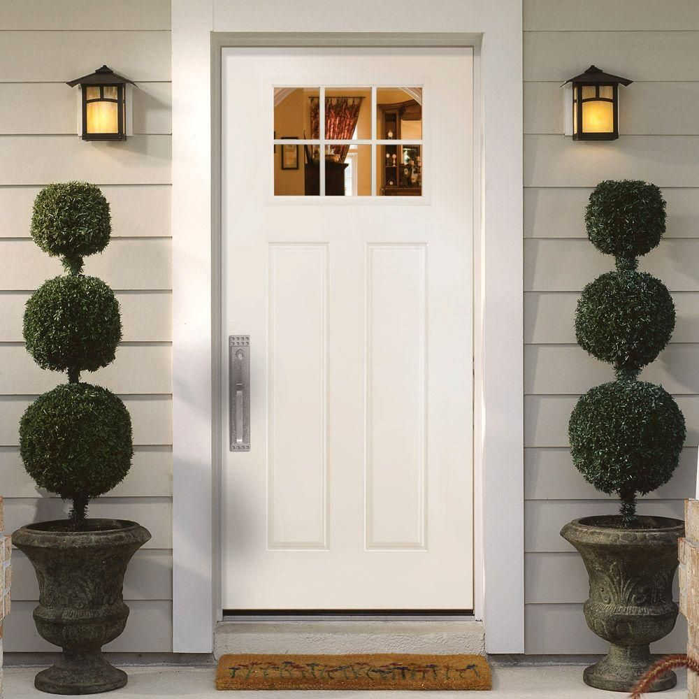 Masonite Craftsman 6 Lite Primed Smooth Fiberglass Entry Door With  Brickmold 27158   The Home