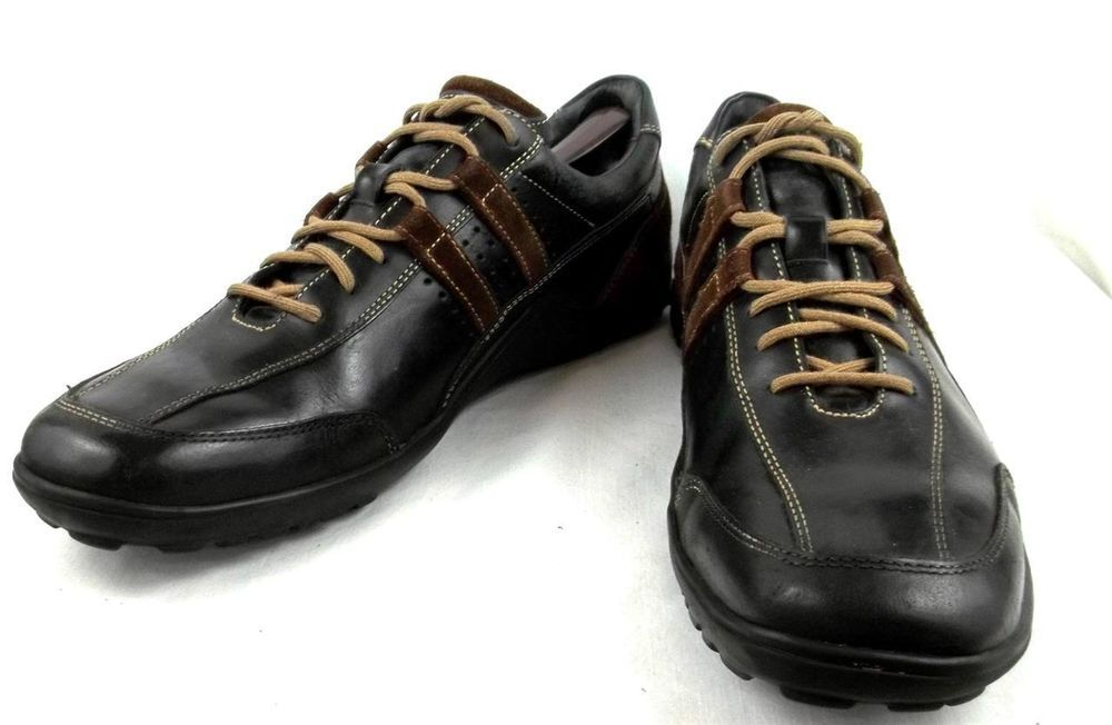 Cole Haan Sneakers Black Brown Leather Lace Up Oxford Tennis Shoes Mens 11.5 M #ColeHaan #Oxfords