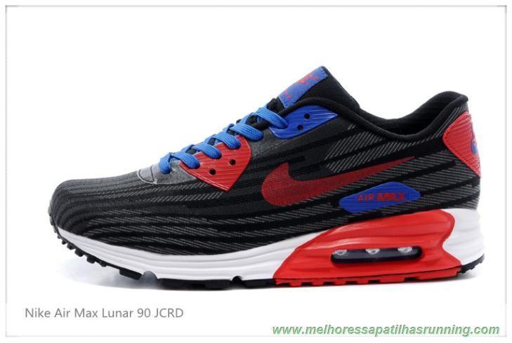 c5d9832f173 sapatilhas running Nike Air Max Lunar 90 JCRD 654468-009 Preto Vermelho Azul