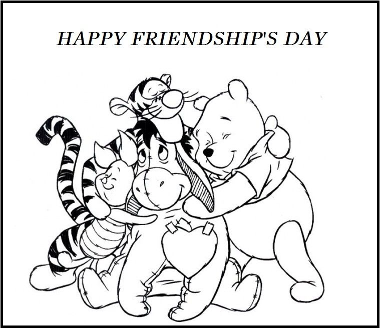 Friendship Coloring Pages Happy Friendships Day Winnie The Pooh