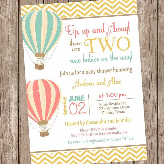 Twins Hot Air Balloon Baby Shower Invitation By Modernbeautiful