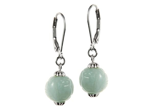Edgewater Sterling Silver, Carved Jade Drop Earrings