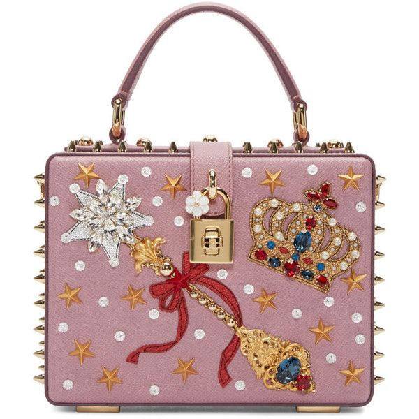 Dolce and Gabbana Pink Embellished Box Bag ($3,685) ❤ liked on Polyvore featuring bags, handbags, shoulder bags, dolce gabbana handbags, studded purse, studded leather handbag, genuine leather handbags and leather handbags