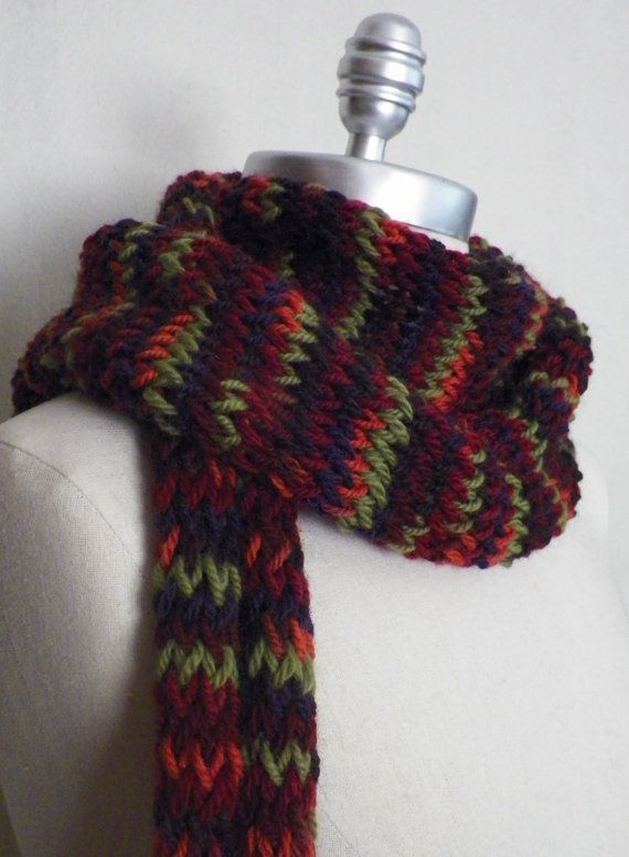 Wool Scarf Knit Chevron Zig Zag Stripes with by jamiesierraknits, $20.00