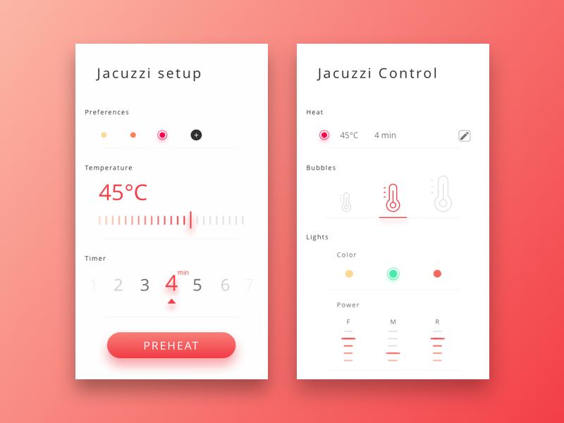 smart home jacuzzi jacuzzi app and ui design. Black Bedroom Furniture Sets. Home Design Ideas
