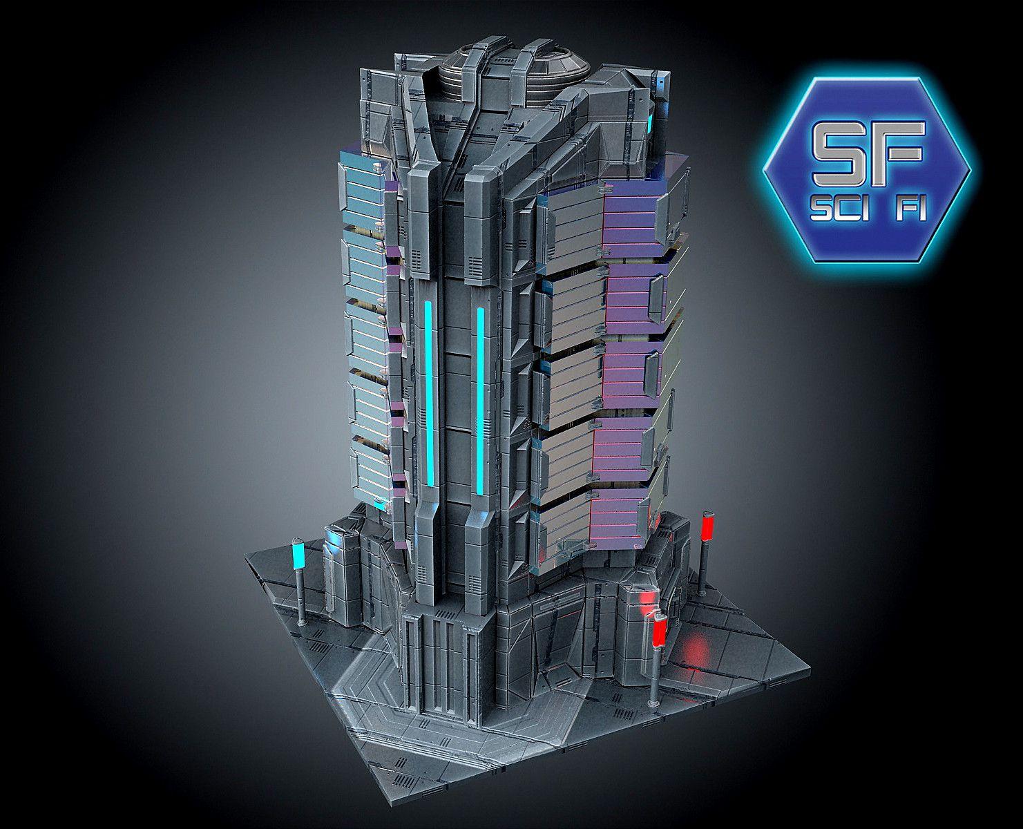 3d sci fi futuristic building Futuristic architecture