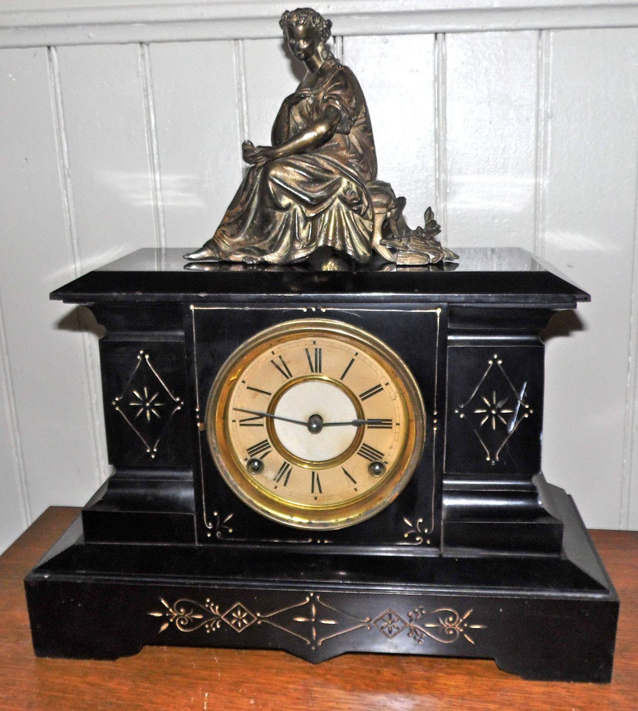 Antique Ansonia Mantel Clock w/ Figural Topper Black Iron w Gold Trim by SquarenutsShop on Etsy