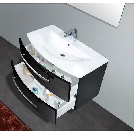 Meuble Simple Vasque Rondo 90cm Noir Onyx