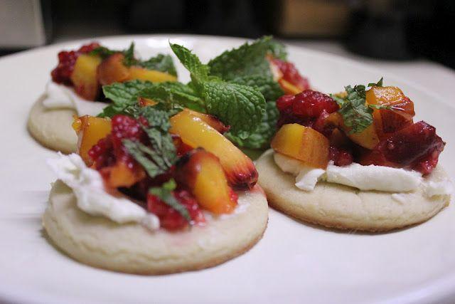 Raspberry and Grilled Peach Dessert Bruschetta