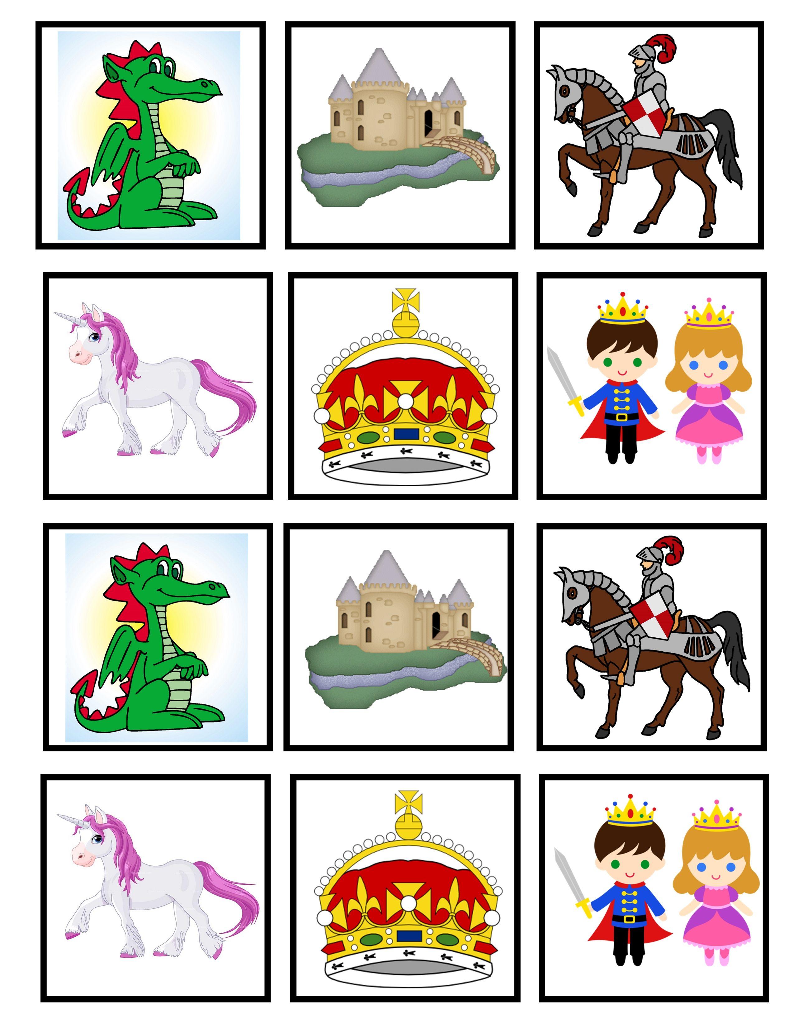 Memory game moyen ge pinterest jeux princesse chevaliers maternelle et chateau princesse - Jeux memoire a imprimer ...