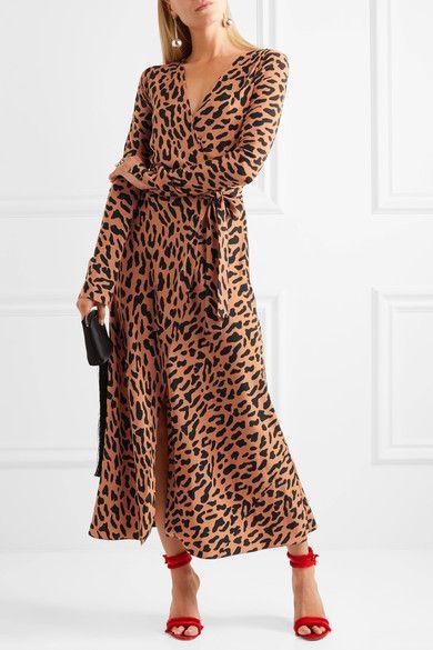 dd2978f086ac DIANE VON FURSTENBERG elegant Leopard-print women's silk crepe de chine wrap  dress