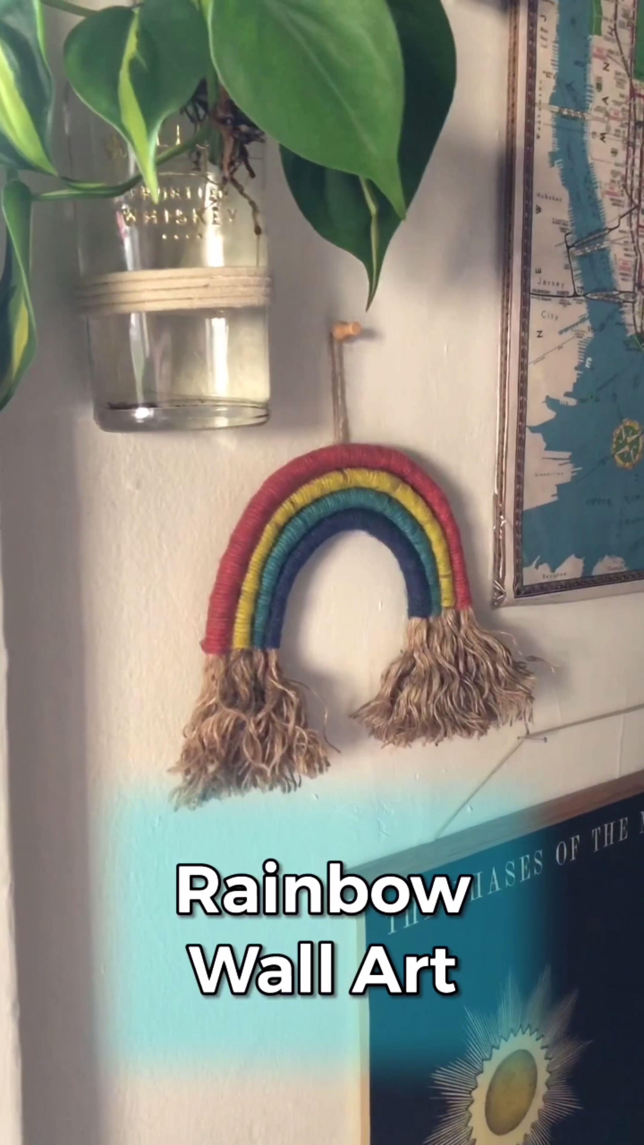 DIY Yarn Rainbow Wall Hanging