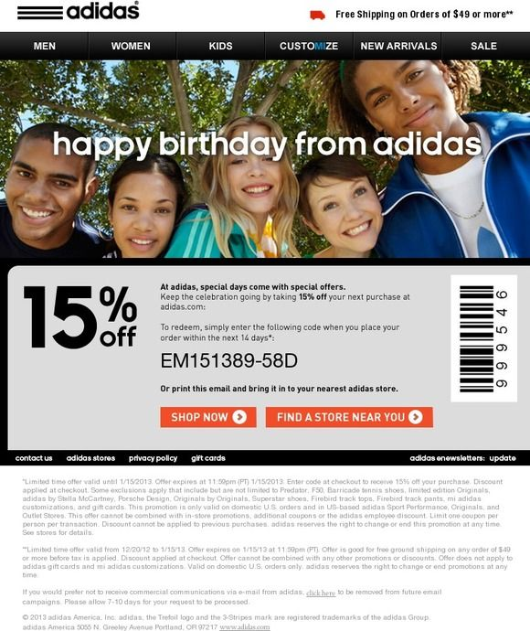 graphic relating to Adidas Printable Coupons named adidas consists of a birthday present for your self! - Adidas Electronic mail - Automobile