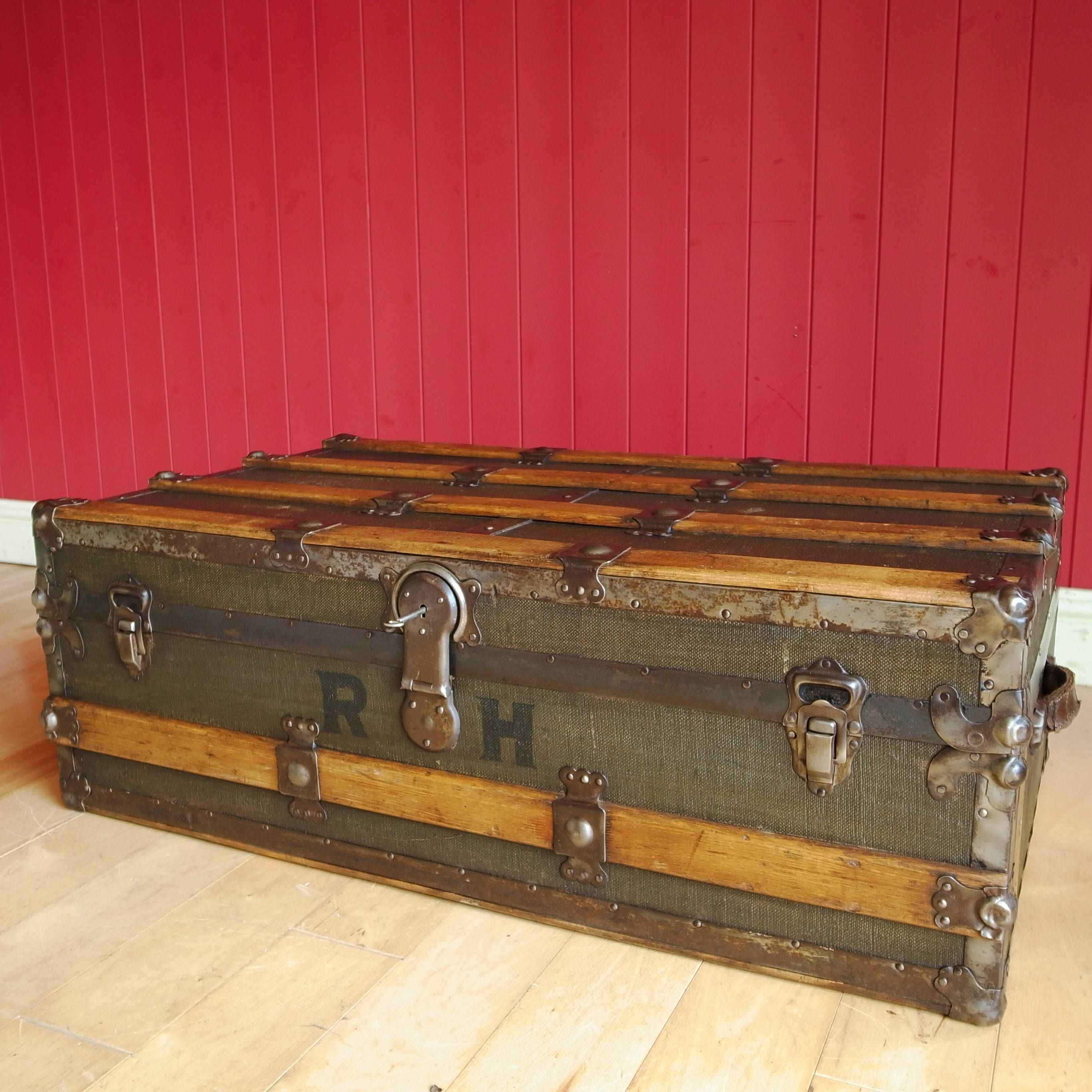 vintage steamer trunk coffee table storage chest antique luggage